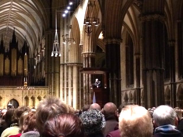 Carol service at Lincoln Cathedral.