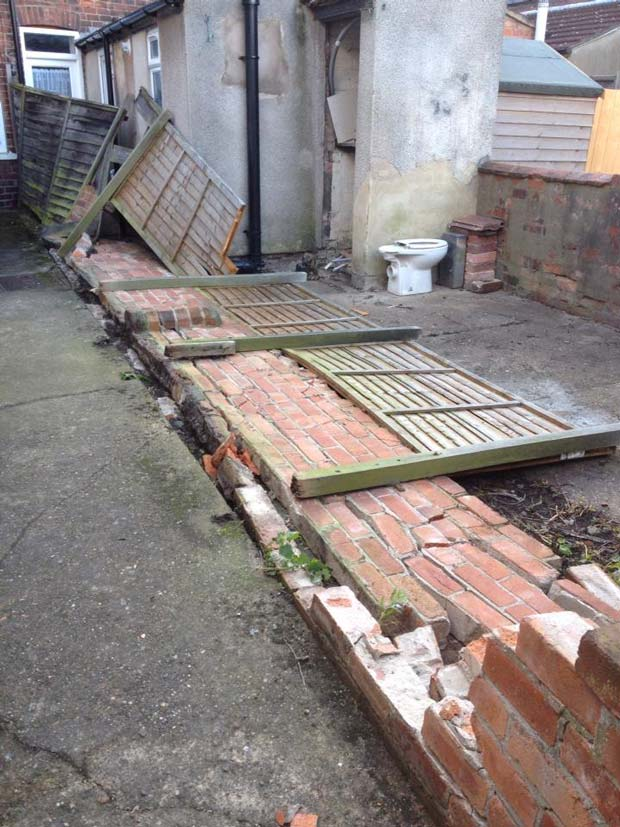 Wind damage to brick wall in Foss Bank. Photo: Nathan Iliffe