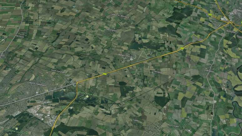 The A46 from Lincoln to Newark. Map data: Google