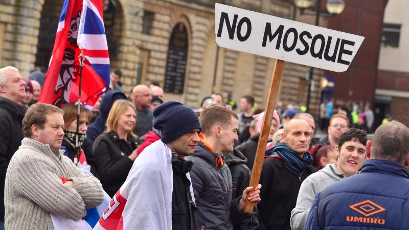 Supporters at the anti-mosque protest in 2014. Photo: Steve Smailes for The Lincolnite