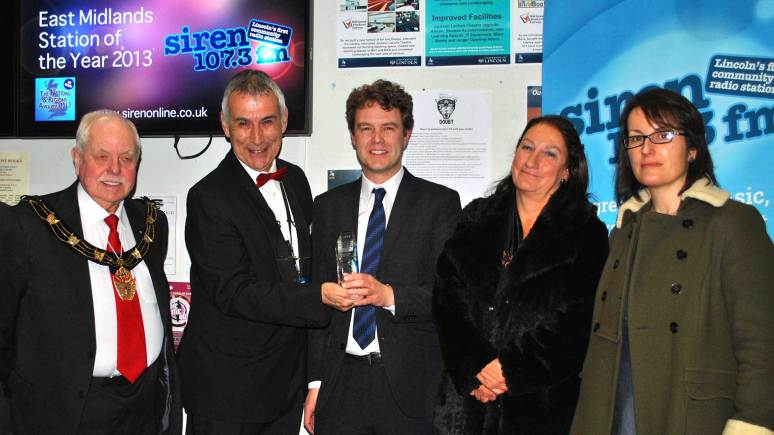 Award ceremony: (L-R) Mayor of Lincoln Coucillor Pat Vaughan, Andrew David, Rob Persani, Professor Mary Stuart and Dr Sarah Barrow