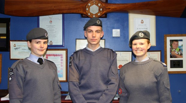 (L to R) Cadet Katherine Maple, Corporate Adam Saxby and Sergeant Samantha Evans. Photo: Emily Norton