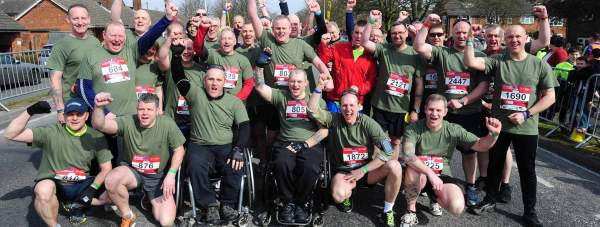 The serving and retired RAF Gunners, nicknamed Rockapes, taking part in their first Lincoln 10k last year.
