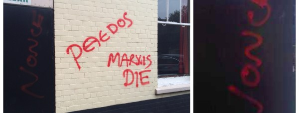 The graffiti left on Grafton House.