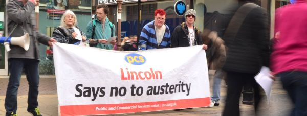 Lincoln and District TUC and Lincoln Disabled People Against Cuts demonstrated on Lincoln High Street as the Budget was announced in parliment. Photo: Steve Smailes for The Lincolnite