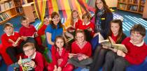 (L-R) (Back) Joe Miller, Leo Brown, Patrick Brown, Author Nina Radcliff, Kayci Pool, Loren Stuart, Deputy Head Teacher Amy Tedford, Georgie Fogg, Georgie Houtby, (Front) Rory Beaven, Tegan Frodsham, Keira Wilson. Photo: Steve Smailes for The Lincolnite