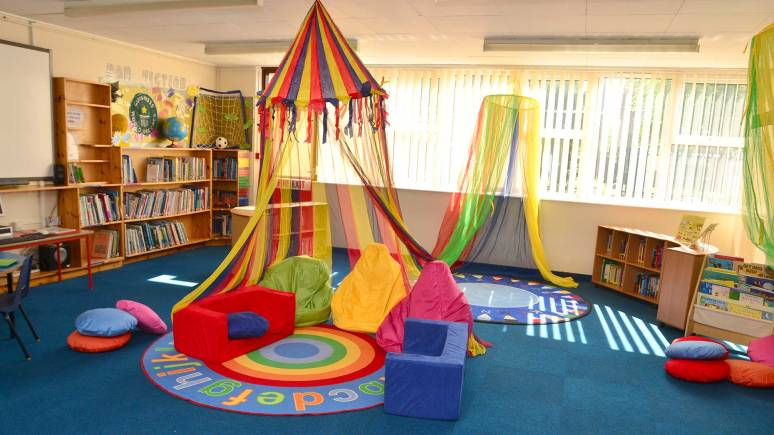 The new colourful space designed by the children at North Hykeham All Saints Primary School. Photo: Steve Smailes for The Lincolnite