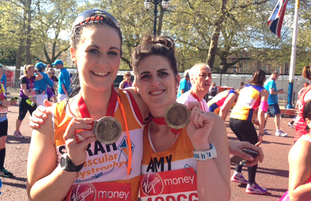 Amy Wilkes (Right) took part in the 2014 London Marathon in order to raise money for Muscular Dystrophy.