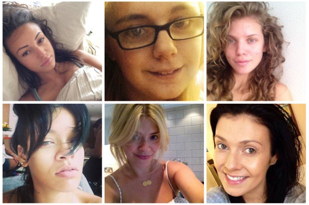 No Makeup Selfies. Images via Twitter