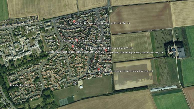 The series of thefts from cars reported in Bracebridge Heath, Lincoln.  Map data: Google