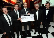 Dean Wann, Leigh Hall, Richard Farrar (Directors of Brayford Hotels), Tony Worth (Lord Lieutenant of Lincolnshire) and Gethin Jones with for over cheque £35000, which was raised at the ball. Photo: Stuart Wilde