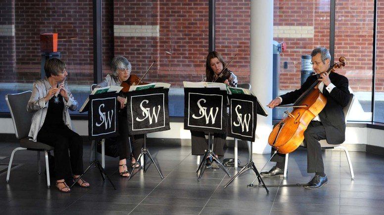 Entertainment on arrival was provided from local string quartet SilverWood and later in the evening, Beat Street International. Photo: Stuart Wilde