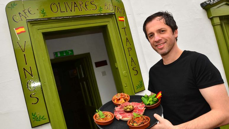 Olivares owner Nicholas Petere at his new restaurant on Castle Hill. Photo: Steve Smailes for The Lincolnite