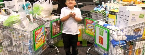 Five-year-old Theo Hayes donated £330 worth of food to a Lincoln food bank.