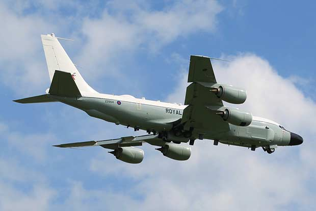 A Rivet Joint RC-135W aircraft over RAF Waddington. Photo: Sergeant Si Pugsley RAF, Crown copyright