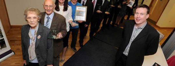 The 2013 NK Community Awards winners, alongside event host John Marshall of Lincs FM. Photo: NKDC