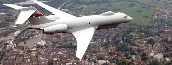 Sentinel R1 surveillance aircraft flying over Lincoln. Photo: MoD