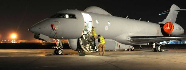 A Sentinel R1 surveillance aircraft of 5 Squadron RAF, at an airfield in the Middle East. Photo: MoD