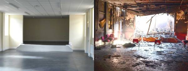 Now and then: The Croft Street Community Centre has been totally revamped after being detroyed by fire. Photo: Steve Smailes for The Lincolnite