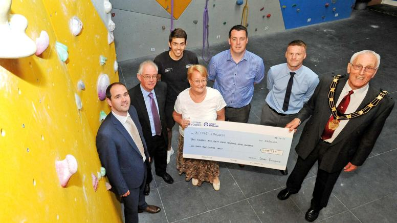(L-R) Ed Sandham, Community Manager for Sport England, Cllr Donald Nannestad, City of Lincoln Council's Portfolio Holder for Recreational Services and Health, Sam Newton, from The Showroom, Janet Inman, Chief Executive Officer of Lincolnshire Sport, Paul Hamnett from LCFCSET, Dave Sampher from Lincolnshire County Council and Mayor of Lincoln Cllr Brent Charlesworth. Photo: Stuart Wilde