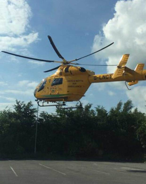 The seriously injured biker was airlifted to hospital in Nottingham for treatment. Photo: @Jamesh87uk