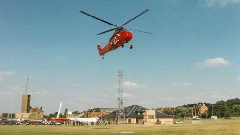 HRH The Duchess of Gloucester arriving by helicopter to open the new Control building in July 1995.