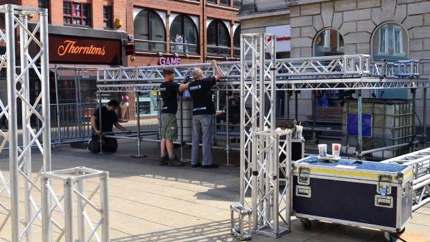 The Commonwealth Games  big screen is taking form on Cornhill. Photo: Steve Smailes for The Lincolnite