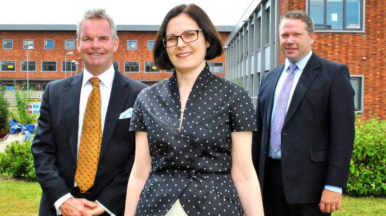 (L-R) Martin Hill, Ursula Lidbetter and Karl McCartney at the old Becor House, which will become the Joseph Banks Laboratories, part of the University of Lincoln's science park. Photo: Shooting Star PR