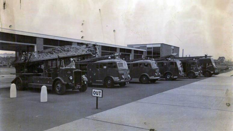 Display of the fleet outside the front of Lincoln South station, pre-1980.