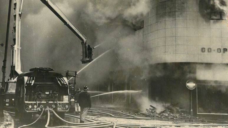 Lincolnshire Co-op fire of 1969 in Lincoln. The heat was so intense that the glass on the building melted.