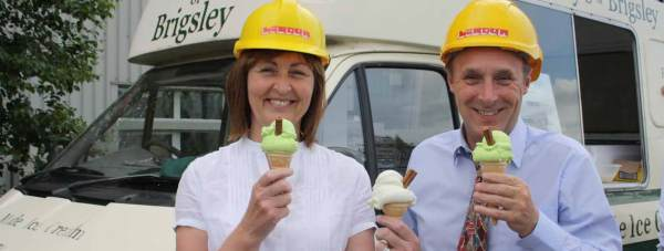 Maureen Murphy and Dexter Durrant of the Bids Team with their ice cream at Lindum Business Park.