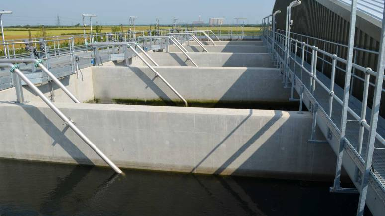Tanks collect water from the main reservoir before entering the treatment station.