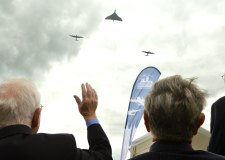 James Flowers salutes the flypast of the Bombers. Photo: Steve Smailes for The Lincolnite