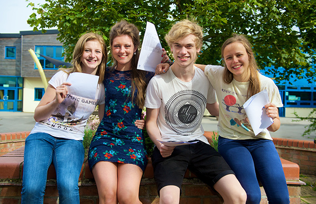 (L-R) Straight A students Laura, Chloe, Alex and Emily. All smiles as they celebrate their results.
