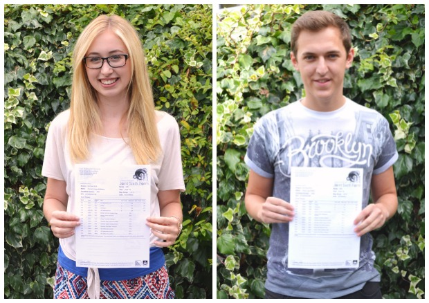 A Level achievers Hannah Mumby and  Oliver Clifton from Sir Robert Pattinson Academy.
