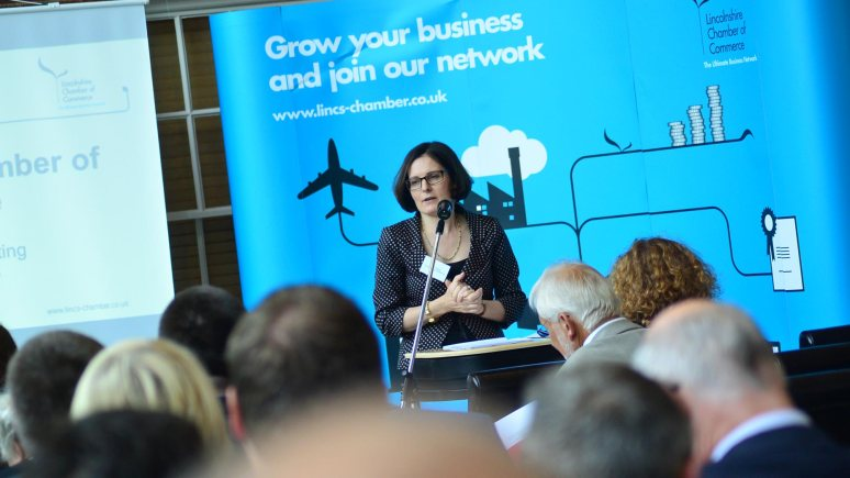 Ursula Lidbetter, President of the Lincolnshire Chamber of Commerce opened the AGM. Photo: Steve Smailes for The Lincolnite