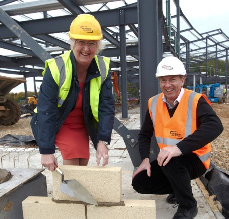 The first brick, of what will be the new £13m Riseholme College, was laid by Jeanette Dawson OBE, Principal and Chief Executive of Bishop Burton College, and Dave Blades.