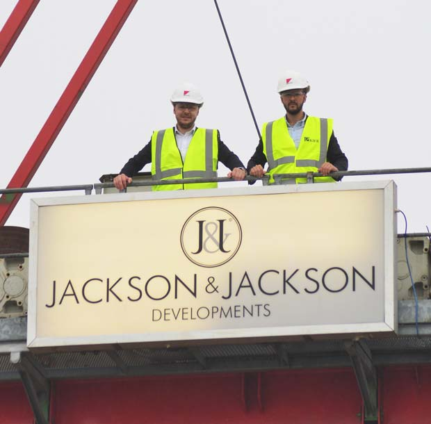 Dominik and Cameron Jackson at the top of the massive crane building The Gateway in Lincoln. Photo: Steve Smailes for Lincolnshire Business