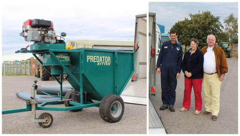 Staff member Mark with Karen & Bill Nimmo-Scott and the 'poo hoover' donation, worth thousands.