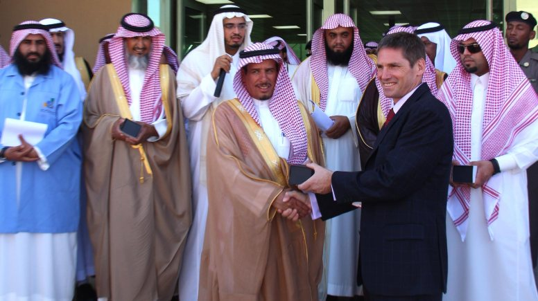Governor Zaid Al Hussein and Paul Batterbury at the opening ceremony.