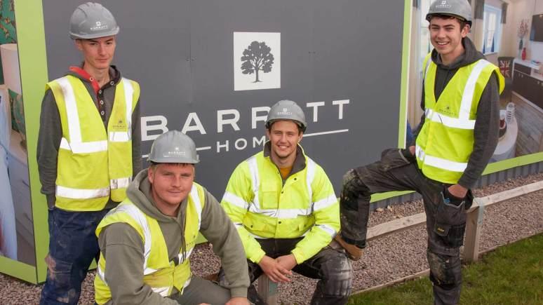 L-R:  Barratt Homes Apprentices Luke Swales, Robert Cantwell, Tom Kinsley and Tom Atkins.