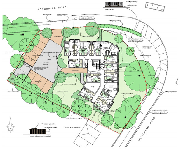 The proposed development is located at 111 Nettleham Road which sits on the corner of Nettleham Road and Longdales Road fronting the roundabout which also connects with Ruskin Avenue.