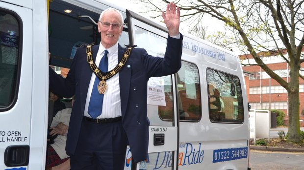 Mayor of Lincoln Councillor Brent Charlesworth got behind the World Hello Day action, alongside his chosen charities Dial-a-Ride and Age UK. Photo: Emily Norton