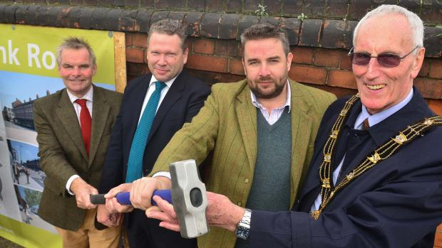 Leader of Lincolnshire County Council Martin Hill, Lincoln MP Karl McCartney, Councillor Richard Davies and Mayor of Lincoln Councillor Brent Charlesworth. Photo: Steve Smailes for The Lincolnite