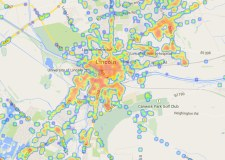 2G, 3G and 4G mobile phone coverage mapped by networks in Lincoln. Map Screenshot: OpenSignal