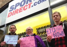 Campaigners marked the new Lincoln S[orts Direct opening by protesting outside the store about low pay and zero-hour contracts. Photo: Lincoln & District TUC