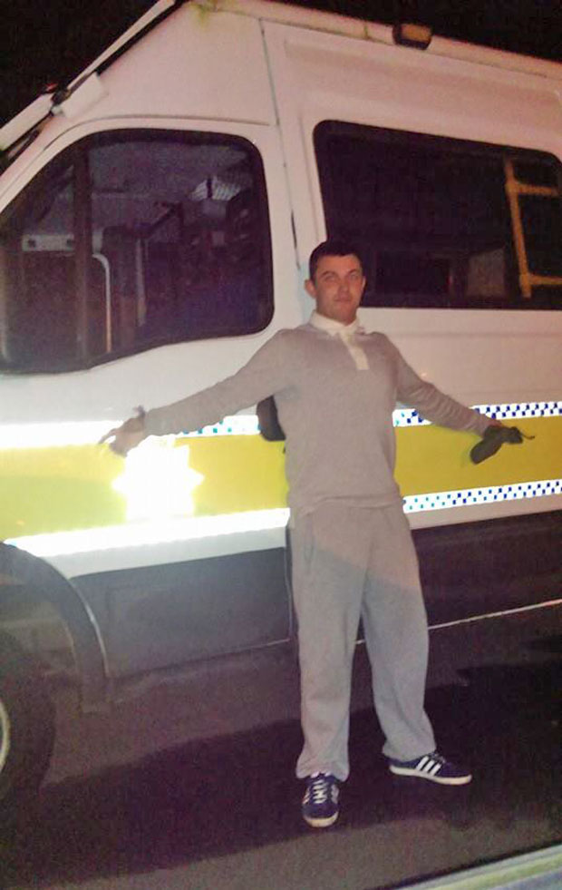 On his night escapade, wanted man Aaron Bee posed leaning on a Lincolnshire Police van.