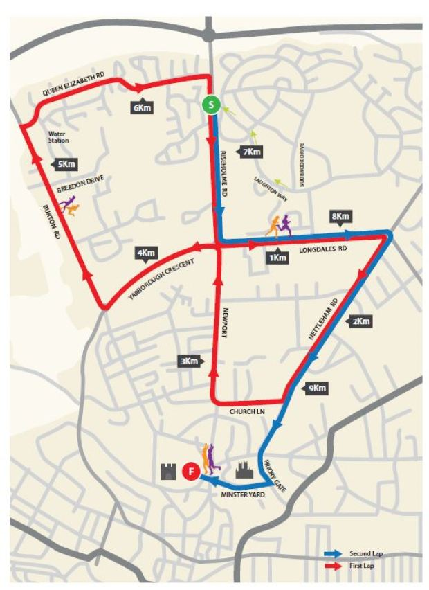 The 2015 Asda Foundation City of Lincoln 10K route map.