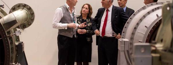 Vince Cable MP with Vice Chancellor Mary Stuart during a tour of the Lincoln School of Engineering. Photo: University of Lincoln