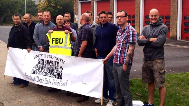 Trade unionists and campaign groups across Lincolnshire are supporting firefighters as they strike over pensions.
